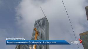 Man arrested after allegedly attempting to parachute off crane in downtown Toronto