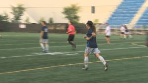 FC Edmonton fans get to play soccer with Iron Maiden bassist at Clarke Stadium