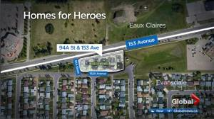 $1M announced for Edmonton Homes for Heroes veterans housing development (01:24)