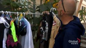 Calgarians distribute donated Halloween costumes to bring 'a little bit of cheer' during COVID-19 pandemic (01:39)