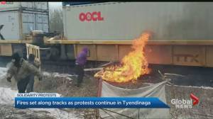Tyendinaga protesters set fire at train tracks