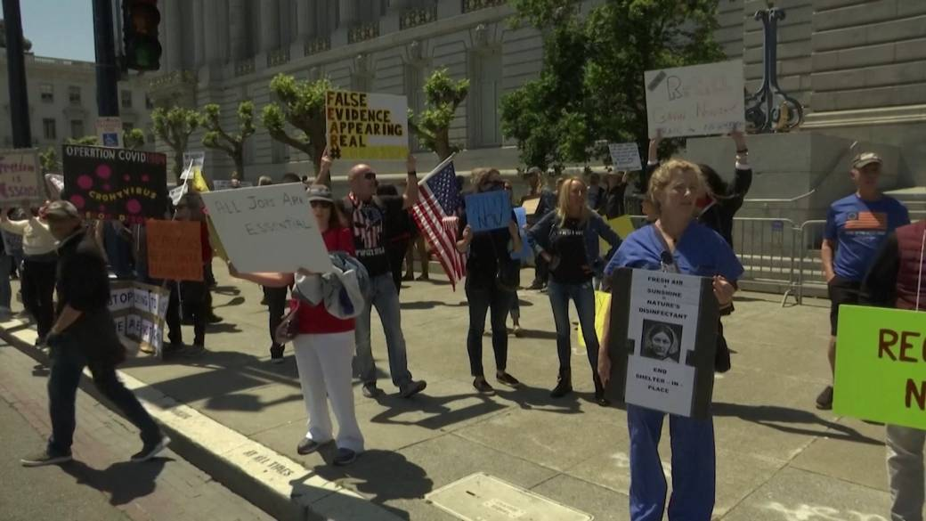 Click to play video 'Coronavirus outbreak: Protesters in California demand end to COVID-19 lockdown'