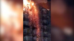 Fire breaks out on building rooftop after earthquake rocks eastern Turkey