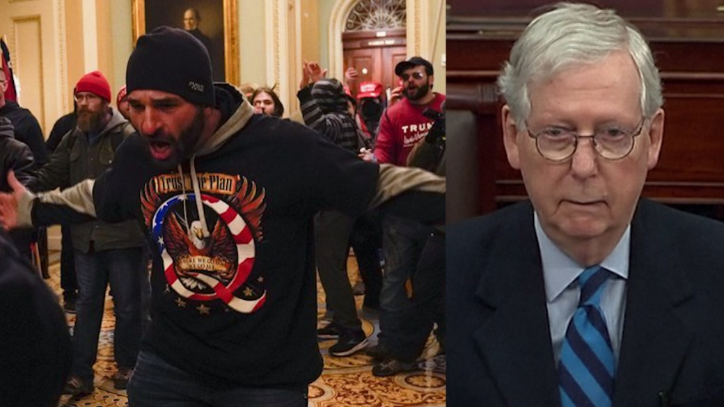 Click to play video 'U.S. Capitol riot: Mitch McConnell says Trump 'provoked' deadly riots'