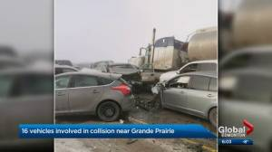 Emergency crews respond to 16-vehicle crash near Grande Prairie