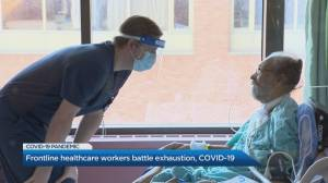 Frontline health-care workers battle exhaustion during COVID-19 (02:59)