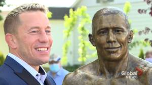Georges St-Pierre honoured in St-Isidore with bronze statue (02:01)