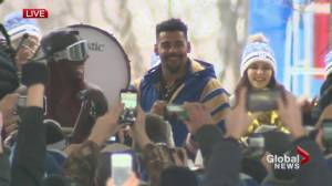 'We did it baby': Grey Cup MVP Andrew Harris celebrates at parade