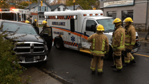 Ambulance and pickup collide in Peterborough