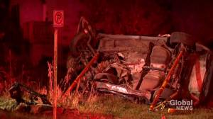 Speed and alcohol factors in fiery crash on Centre St.: Calgary police (01:42)
