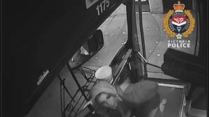 Victoria police release video of suspect accused of spitting on bus driver (00:42)