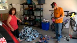 COVID-19 cleanup: Calgary cyclist makes regular rounds to pick up discarded masks (01:36)