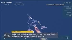 Billionaire Richard Branson reaches low Earth orbit on Virgin Galactic rocket (08:58)