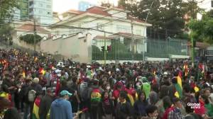 Protesters march towards Bolivia's Supreme Electoral Court