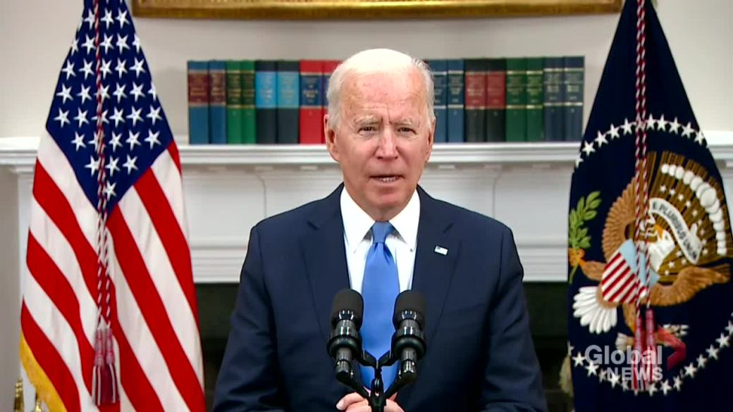 Click to play video: 'Colonial Pipeline hack: Biden says U.S. has granted waiver allowing refined fuel from other countries to 'affected areas''