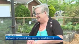 No-barrier community fridge opens for people in need (01:33)