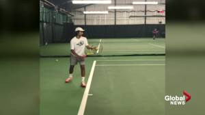 Teenage tennis phenom Kaetan Mehta takes training south of the border (01:58)