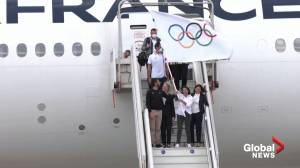 Olympic flag arrives in France as Paris prepares to host 2024 Games (02:37)