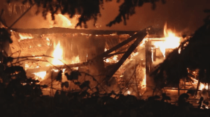 Surrey firefighters battle explosive blaze at Cloverdale concrete company (00:28)