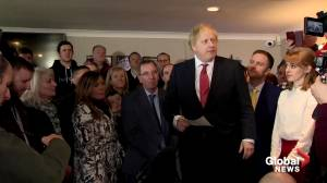Johnson celebrates election victory on trip to northern England