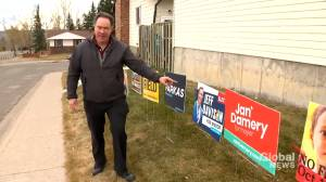 Calgarian promotes civic election with display of 50 campaign signs (01:36)
