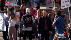 Anti-mask rally held at Calgary Midtown Co-op (02:11)
