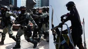 Hong Kong police patrol city in armoured vehicles, a day after protesters take up arms in clashes