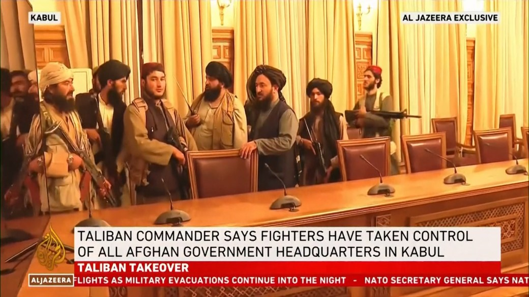 Click to play video: 'Video shows Taliban members inside Afghanistan's Presidential Palace'
