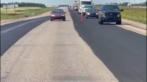 Video captures driver speeding, swerving through a Saskatchewan construction zone (01:27)