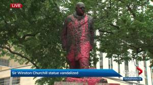 Winston Churchill statue in downtown Edmonton vandalized with red paint (02:01)