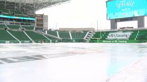 Home of the Riders transformed into largest outdoor rink in Saskatchewan (01:57)