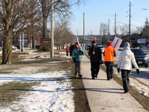 Public high school teachers walk the picket line in Lindsay