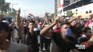 Iraqis take to streets on one year protest anniversary (02:14)