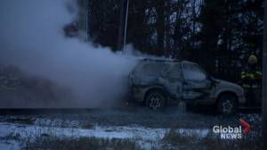 Charred vehicle remains on railway tracks in Tyendinaga, Ont.
