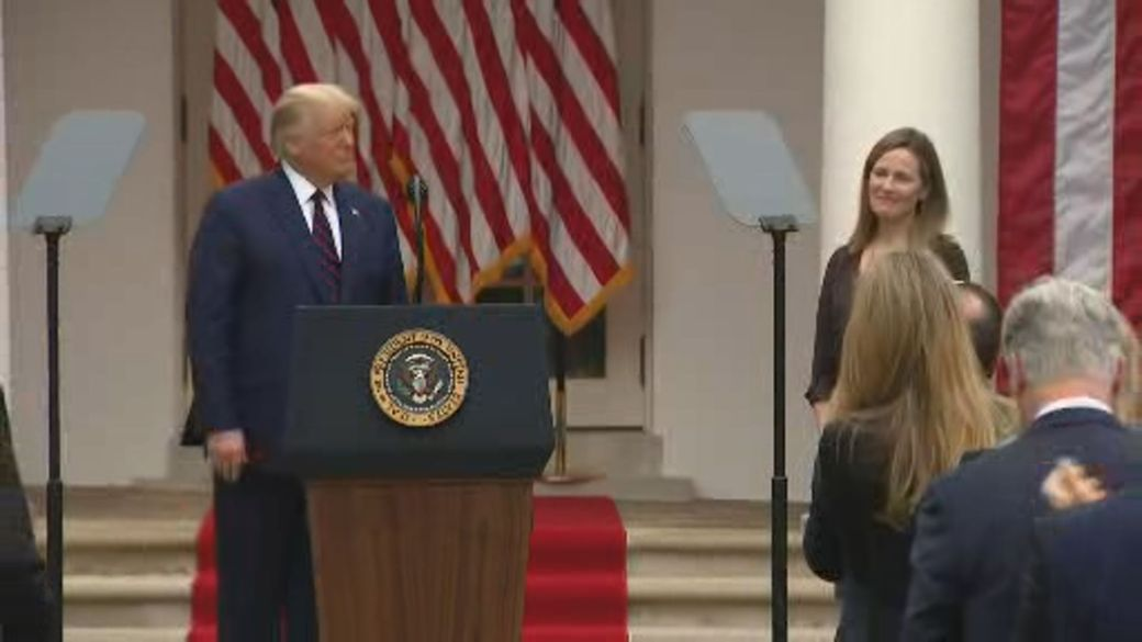 Click to play video 'Trump nominates judge Amy Coney Barrett for Supreme Court seat left vacant by RBG'