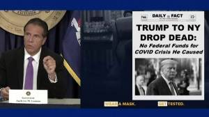 Coronavirus: NY Gov. Cuomo says Trump 'trying to kill New York City' (01:52)