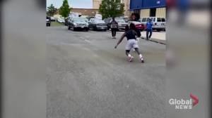 Winnipeg Blue Bombers receiver Lucky Whitehead filmed pulling semi