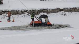 Peterborough public works ice cleaner falls through canal ice
