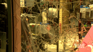 A peaceful rally turned violent in downtown Montreal Sunday as police and protestors