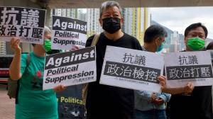 """Hong Kong pro-democracy activists found guilty of """"unlawful assembly"""" (02:33)"""