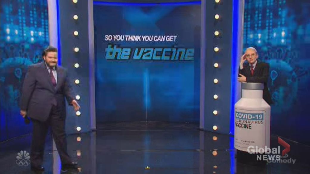 Click to play video 'Game show seeks to answer who can get COVID-19 vaccine on 'SNL''