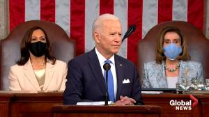 Biden promotes 'Buy American' in address to Congress, adds that it 'does not violate any trade agreement' (01:42)