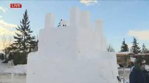 Snow sculpting at Festival Du Voyageur