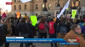 Demonstrators at Alberta legislature protest cuts to post-secondary education