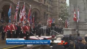 People gather at Toronto's Old City Hall Cenotaph for Remembrance Day
