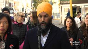 Federal Election 2019: Singh says Trudeau hasn't agreed to implement NDP 'super wealth tax' plan (00:39)