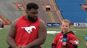 Junior Reporter Zach interviews Stampeders offensive lineman Derek Dennis