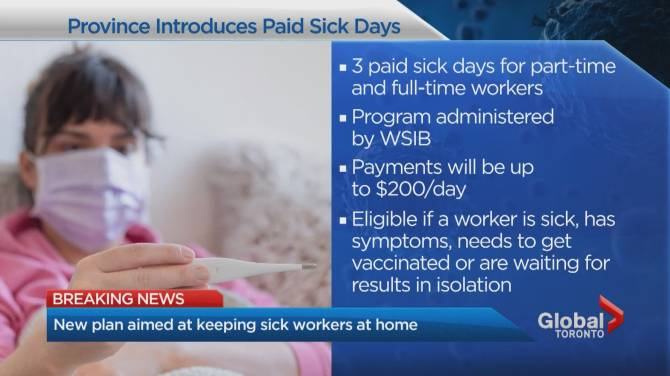 Click to play video: Ontario unveils paid sick leave plan