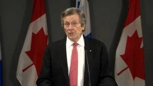 Tory says he welcomes provincial funding to address Coronavirus issues with Toronto homeless (01:43)