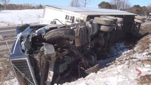 Tractor-trailer crashes into ditch on County Road 28 near Bewdley